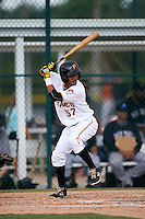 GCL Pirates shortstop Adrian Valerio (57) at bat during the second game of a doubleheader against the GCL Yankees 2 on July 31, 2015 at the Pirate City in Bradenton, Florida.  The game was suspended after two innings due to rain.  (Mike Janes/Four Seam Images)