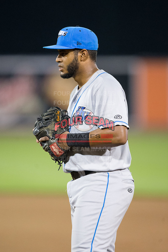 Hudson Valley Renegades first baseman Jean Ramirez (27) on defense against the Aberdeen IronBirds at Leidos Field at Ripken Stadium on July 27, 2017 in Aberdeen, Maryland.  The IronBirds defeated the Renegades 3-0 in game two of a double-header.  (Brian Westerholt/Four Seam Images)