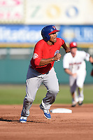 Buffalo Bisons outfielder Cory Aldridge (49) runs the bases during the second game of a doubleheader against the Rochester Red Wings on July 6, 2014 at Frontier Field in Rochester, New  York.  Rochester defeated Buffalo 6-1.  (Mike Janes/Four Seam Images)