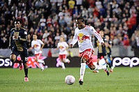 Dane Richards (19) of the New York Red Bulls. The New York Red Bulls defeated the Philadelphia Union  1-0 during a Major League Soccer (MLS) match at Red Bull Arena in Harrison, NJ, on October 20, 2011.