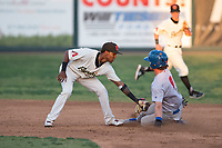 Visalia Rawhide second baseman Raymel Flores (1) applies the tag to Skye Bolt (9) on a stolen base attempt during a California League game against the Stockton Ports at Visalia Recreation Ballpark on May 8, 2018 in Visalia, California. Stockton defeated Visalia 6-2. (Zachary Lucy/Four Seam Images)