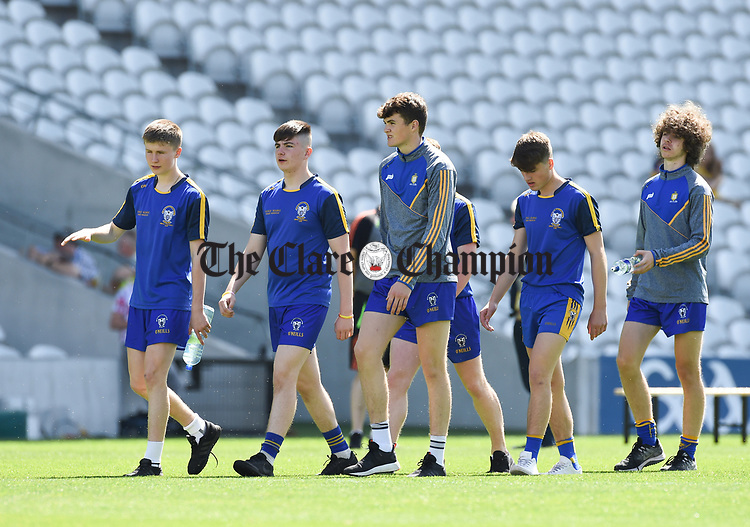 The Clare players take a walk out on the hallowed Cork turf prior to their Munster Minor football final at Pairc Ui Chaoimh. Photograph by John Kelly.