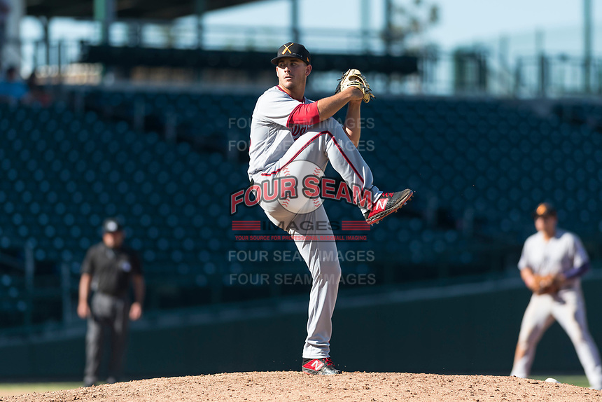 Salt River Rafters relief pitcher Ben Braymer (43), of the Washington Nationals organization, delivers a pitch during an Arizona Fall League game against the Mesa Solar Sox at Sloan Park on October 30, 2018 in Mesa, Arizona. Salt River defeated Mesa 14-4 . (Zachary Lucy/Four Seam Images)