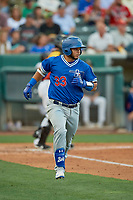 Keibert Ruiz (33) of the Oklahoma City Dodgers runs to first base against the Salt Lake Bees at Smith's Ballpark on August 1, 2019 in Salt Lake City, Utah. The Bees defeated the Dodgers 14-4. (Stephen Smith/Four Seam Images)