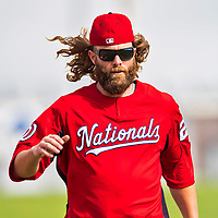 28 February 2017: Washington Nationals outfielder Jayson Werth warms up prior to the inaugural Spring Training game between the Washington Nationals and the Houston Astros at the Ballpark of the Palm Beaches in West Palm Beach, Florida. The Nationals defeated the Astros 4-3 in Grapefruit League play. Mandatory Credit: Ed Wolfstein Photo *** RAW (NEF) Image File Available ***