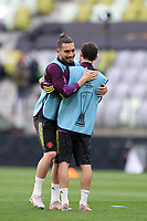 25th May 2021; Gdansk, Poland; Manchester United training at the Stadion Energa Gdańsk prior to their Europa League final versus Villarreal on May 26th;  ALEX TELLES embraces JUAN MATA 054