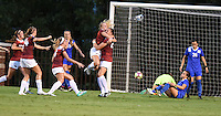 NWA Democrat-Gazette/MICHAEL WOODS • @NWAMICHAELW<br /> Lindsey Mayo (25) of Arkansas is swarmed by teammates  after she scores the Razorbacks first goal against Duke Friday, August 26, 2016 during their game at Razorback field in Fayetteville.