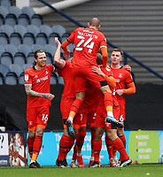20th March 2021; Deepdale Stadium, Preston, Lancashire, England; English Football League Championship Football, Preston North End versus Luton Town;  Luton Town players celebrate after the own goal by Daniel Iverson of Preston North End after 83 minutes