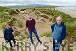 In Banna Beach showing the natural destruction of a blow out which has further deteriorated due to the human interference with the sand dunes. <br /> Front right`: Pat Lawlor. Back: Martha Farrell (Maherees Conservation Association) and Daniel Dowling (Banna Sea Rescue).