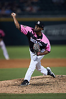 Charlotte Knights relief pitcher Keyvius Sampson (47) in action against the Gwinnett Stripers at Truist Field on July 17, 2021 in Charlotte, North Carolina. (Brian Westerholt/Four Seam Images)