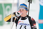 MARTELL-VAL MARTELLO, ITALY - FEBRUARY 02: LANG Kathrin (GER) after the Women 7.5 km Sprint at the IBU Cup Biathlon 6 on February 02, 2013 in Martell-Val Martello, Italy. (Photo by Dirk Markgraf)