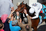 LOUISVILLE, KY - MAY 06: Majestic Harbor #9, ridden by Corey Lanerie, is congratulated in winners' circle after winning the Alysheba Stakes on May 6, 2016 in Louisville, Kentucky. (Photo by Jon Durr/Eclipse Sportswire/Getty Images)