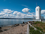 Browns Point Lighthouse, first lit in 1887, first lighthouse built 1901, is now on the National Historic Record and a city of Tacoma, Washington, park.