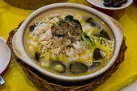 Yangzhou, Jiangsu, China.  Breakfast at Ye Chun Tea House: Shrimp, Crab, Mushrooms, and Noodles.