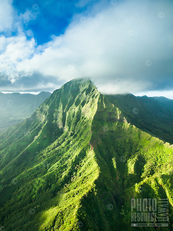 An aerial view of the Nu'uanu Pali area looking towards East O'ahu, with Nu'uanu Valley on the right.