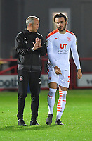 Blackpool's Manager Neil Critchley gives advice to new boy Luke Garbutt<br /> <br /> Photographer Dave Howarth/CameraSport<br /> <br /> EFL Trophy Northern Section Group G - Accrington Stanley v Blackpool - Tuesday 6th October 2020 - Crown Ground - Accrington<br />  <br /> World Copyright © 2020 CameraSport. All rights reserved. 43 Linden Ave. Countesthorpe. Leicester. England. LE8 5PG - Tel: +44 (0) 116 277 4147 - admin@camerasport.com - www.camerasport.com