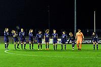 line up team Anderlecht ( Tine De Caigny (6) of Anderlecht , Sarah Wijnants (11) of Anderlecht , Britt Vanhamel (4) of Anderlecht , Tessa Wullaert (27) of Anderlecht , Mariam Abdulai Toloba (19) of Anderlecht , Kassandra Missipo (12) of Anderlecht , Laura Deloose (14) of Anderlecht , Stefania Vatafu (10) of Anderlecht , Charlotte Tison (20) of Anderlecht , goalkeeper Justien Odeurs (13) of Anderlecht , Laura De Neve (8) of Anderlecht  ) pictured before a female soccer game between RSC Anderlecht Dames and Oud Heverlee Leuven on the 11 th matchday of the 2020 - 2021 season of Belgian Womens Super League , friday 22 nd of January 2021  in Tubize , Belgium . PHOTO SPORTPIX.BE | SPP | STIJN AUDOOREN