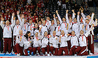 BELGRADE, SERBIA - DECEMBER 16: Hungary's players pose on podium after taking the third place during the Women's European Handball Championship 2012 medal ceremony at Arena Hall on December 16, 2012 in Belgrade, Serbia. (Photo by Srdjan Stevanovic/Getty Images)