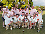 Pix: Clare Flannery/shaunflanneryphotography.com...COPYRIGHT PICTURE>>SHAUN FLANNERY>01302-570814>>07778315553>>..23rd July 2011..................Scopie Sloggers (front) celebrate victory in the Neil Gardiner charity cricket match at Sprotbrough cricket Club..Also pictured are losing finalistes Sprotbrough Six Pack.