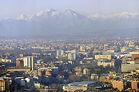 - Milan, panorama of the city to the north by the Alps in the background....- Milano, panorama della città verso nord con le Alpi sillo sfondo
