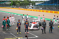 15th July 2021, Silverstone Circuit, Northampton, England;  2022 car launch with all drivers during the Formula 1 Pirelli British Grand Prix 2021, 10th round of the 2021 FIA Formula One World Championship