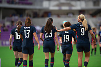 ORLANDO CITY, FL - FEBRUARY 21: USWNT celebrates a goal during a game between Brazil and USWNT at Exploria Stadium on February 21, 2021 in Orlando City, Florida.