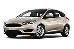 Stock pictures of low aggressive front three quarter view of 2018 Ford Focus SE 5 Door Hatchback Low Aggressive