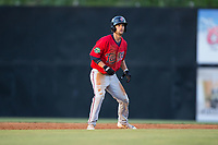 Colton Waltner (26) of the Elizabethton Twins takes his lead off of second base against the Danville Braves at American Legion Post 325 Field on July 1, 2017 in Danville, Virginia.  The Twins defeated the Braves 7-4.  (Brian Westerholt/Four Seam Images)