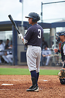 GCL Yankees West second baseman David Metzgar (3) at bat during the first game of a doubleheader against the GCL Yankees East on July 19, 2017 at the Yankees Minor League Complex in Tampa, Florida.  GCL Yankees West defeated the GCL Yankees East 11-2.  (Mike Janes/Four Seam Images)