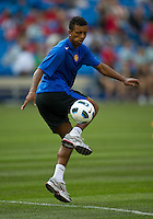 16 July 2010: Manchester United Nani No. 17 in action during the warm-up in an international friendly  between Manchester United and Celtic FC at the Rogers Centre in Toronto.
