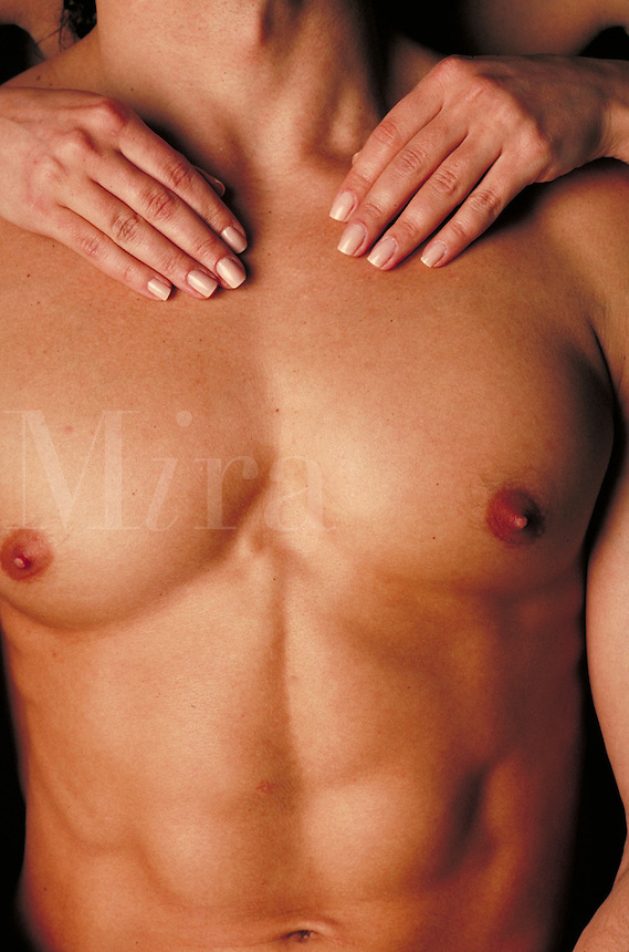 Male Torso with a woman's hands.