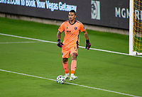 LOS ANGELES, CA - SEPTEMBER 02: GK Daniel Vega #17 of the San Jose Earthquakes passes off the ball during a game between San Jose Earthquakes and Los Angeles FC at Banc of California stadium on September 02, 2020 in Los Angeles, California.