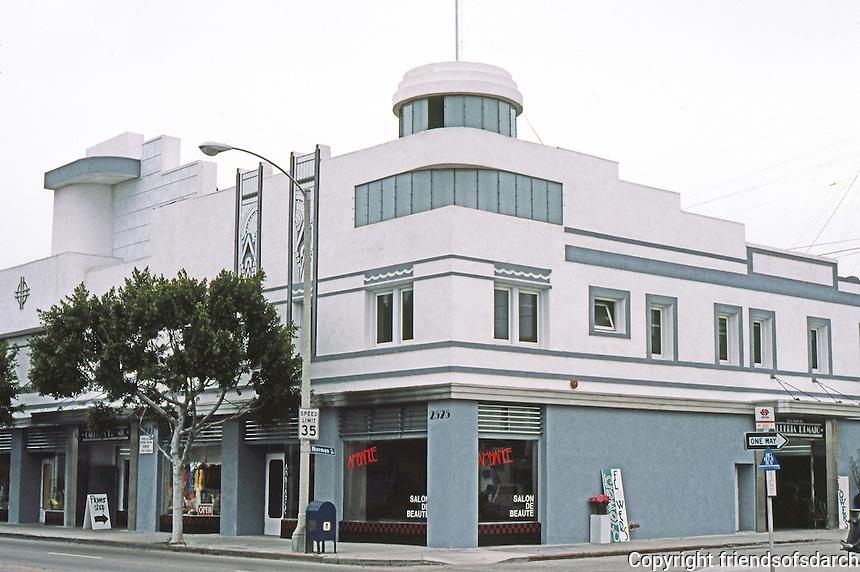 Santa Monica CA: Merle Norman Building in 1985.  2525 Main St.  Restoration.  Photo '85.