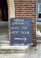 Makeshift sign, Graduation Celebrations at Guildford Cathedral.