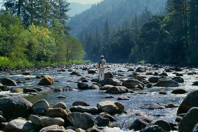 Fly fishing on the Merced River<br /> Sierra National Forest<br /> Sierra Nevada<br /> California