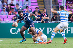Matai Leuta of USA (L) is tackled by Santiago Mare of Argentina (R) during the HSBC Hong Kong Sevens 2018 match for Plate Final between Argentina and USA on 08 April 2018, in Hong Kong, Hong Kong. Photo by Marcio Rodrigo Machado / Power Sport Images