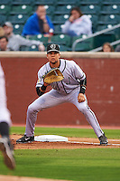 Jacksonville Suns first baseman Viosergy Rosa (44) waits for a pickoff attempt during a game against the Chattanooga Lookouts on April 30, 2015 at AT&T Field in Chattanooga, Tennessee.  Jacksonville defeated Chattanooga 6-4.  (Mike Janes/Four Seam Images)
