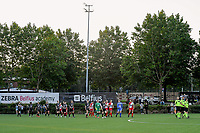 players entering the field pictured before a female soccer game between Sporting Charleroi and SV Zulte-Waregem on the third matchday in the 2021 - 2022 season of Belgian Scooore Womens Super League , friday 3 September 2021 in Marcinelle , Belgium . PHOTO SPORTPIX | STIJN AUDOOREN