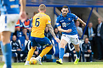 St Johnstone v Kilmarnock…31.08.19   McDiarmid Park   SPFL<br />Drey Wright takes on Alan Power<br />Picture by Graeme Hart.<br />Copyright Perthshire Picture Agency<br />Tel: 01738 623350  Mobile: 07990 594431