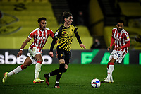 4th November 2020; Vicarage Road, Watford, Hertfordshire, England; English Football League Championship Football, Watford versus Stoke City; James Garner breaks forward on the ball for Watford.