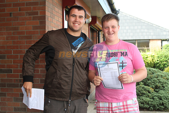 Hugh Carolan and Sam Lyster after recieving their leaving cert results at St. Josephs School, Drogheda, Co.Louth...Picture Jenny Matthews/Newsfile.ie