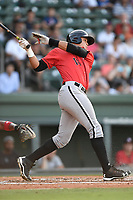 Designated hitter Antonio Rodriguez (14) of the Kannapolis Intimidators bats in a game against the Greenville Drive on Wednesday, July 12, 2017, at Fluor Field at the West End in Greenville, South Carolina. Greenville won, 12-2. (Tom Priddy/Four Seam Images)