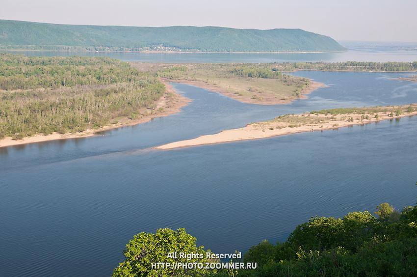 Zelenenky island and Zhiguli mountains in the Volga near Samara