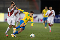 13th October 2020; National Stadium of Peru, Lima, Peru; FIFA World Cup 2022 qualifying; Peru versus Brazil;  Yoshimar Yotún of Peru brings down Philippe Coutinho of Brazil