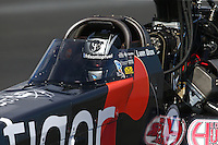 Feb 7, 2015; Pomona, CA, USA; NHRA top fuel driver Larry Dixon during qualifying for the Winternationals at Auto Club Raceway at Pomona. Mandatory Credit: Mark J. Rebilas-