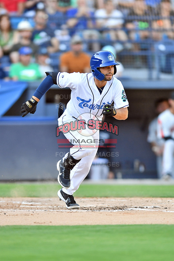 Asheville Tourists Cesar Salazar (11) runs to first base during a game against the Aberdeen IronBirds on June 15, 2021 at McCormick Field in Asheville, NC. (Tony Farlow/Four Seam Images)