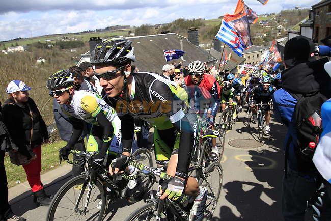 The peloton including Daryl Impey (RSA) and Simon Gerrans (AUS) GreenEdge Cycling Team climb Cote de Saint-Roch during the 98th edition of Liege-Bastogne-Liege, running 257.5km from Liege to Ans, Belgium. 22nd April 2012.  <br /> (Photo by Eoin Clarke/NEWSFILE).