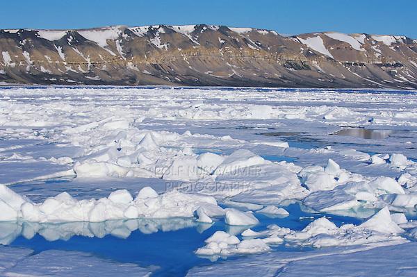 Pack ice in the Hinlopen Strait, Svalbard, Spitsbergen, Norway, Arctic  .