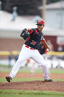 Batavia Muckdogs relief pitcher Nestor Bautista (39) delivers a pitch during a game against the West Virginia Black Bears on June 25, 2017 at Dwyer Stadium in Batavia, New York.  Batavia defeated West Virginia 4-1 in nine innings of a scheduled seven inning game.  (Mike Janes/Four Seam Images)