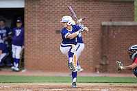 Hunter Lee (2) of the High Point Panthers at bat against the NJIT Highlanders during game two of a double-header at Williard Stadium on February 18, 2017 in High Point, North Carolina.  The Highlanders defeated the Panthers 4-2.  (Brian Westerholt/Four Seam Images)